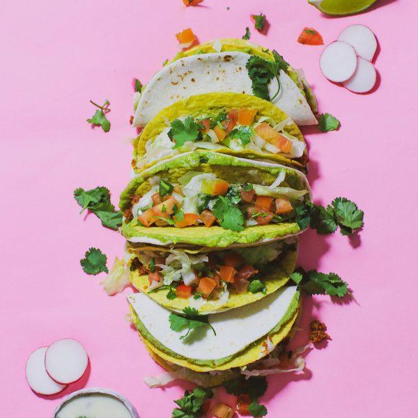 Guacamole Taco with Spicy Vegan Queso
